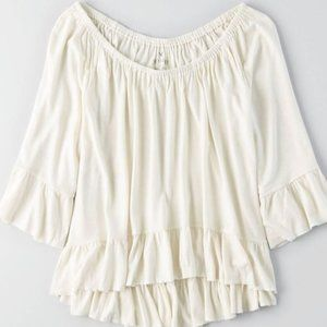 American Eagle Soft & Sexy White Ruffled Top